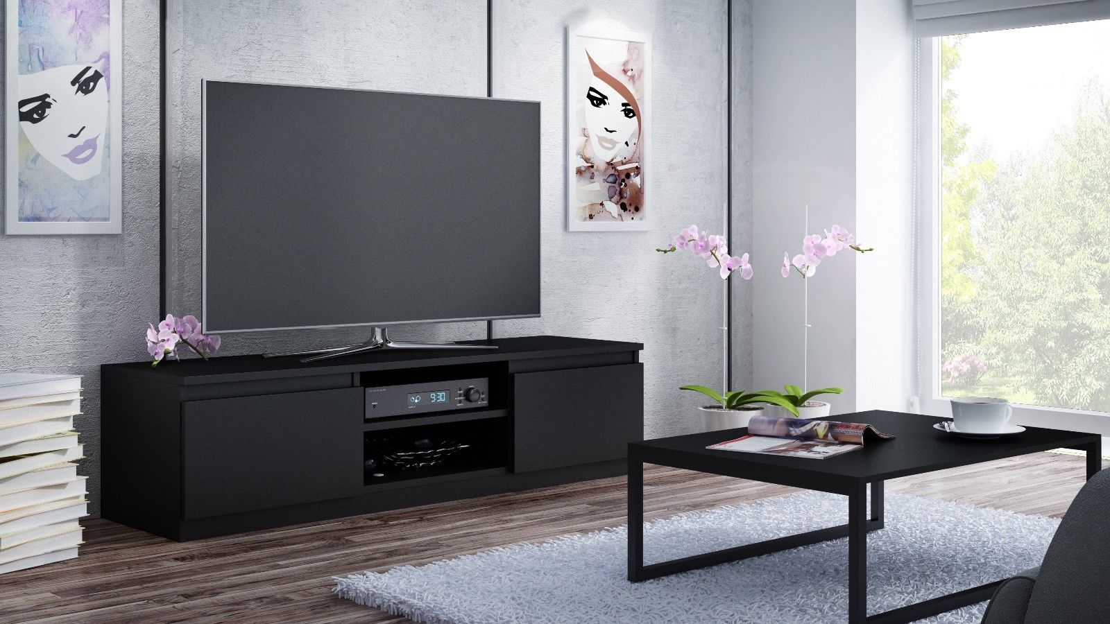Sleek black entertainment unit