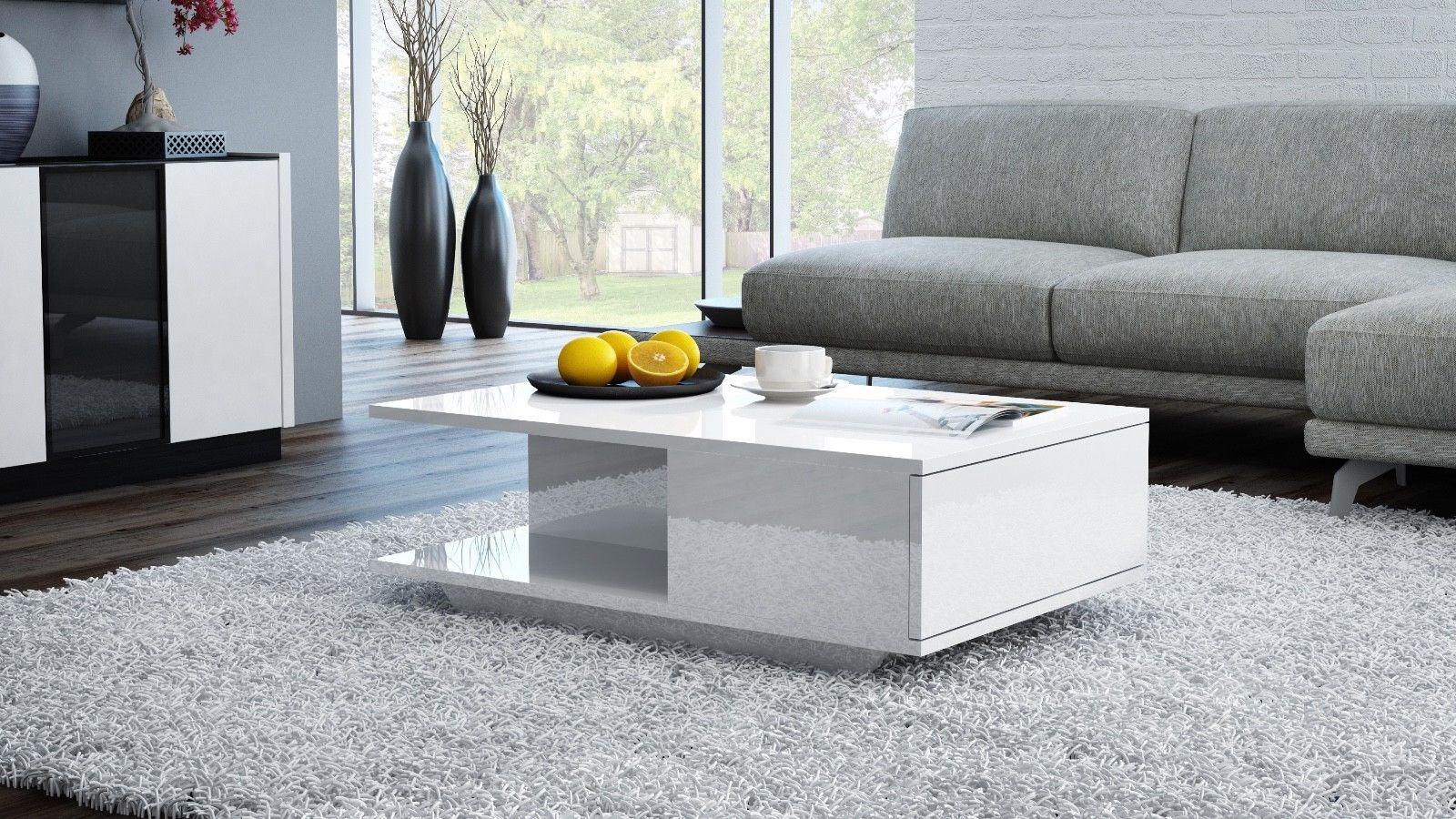 White gloss storage coffee table