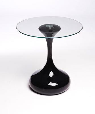 Hourglass Design Side Table / End Table / Lamp Table Round, Black Gloss, Modern | UKCOFFEETABLES.COM