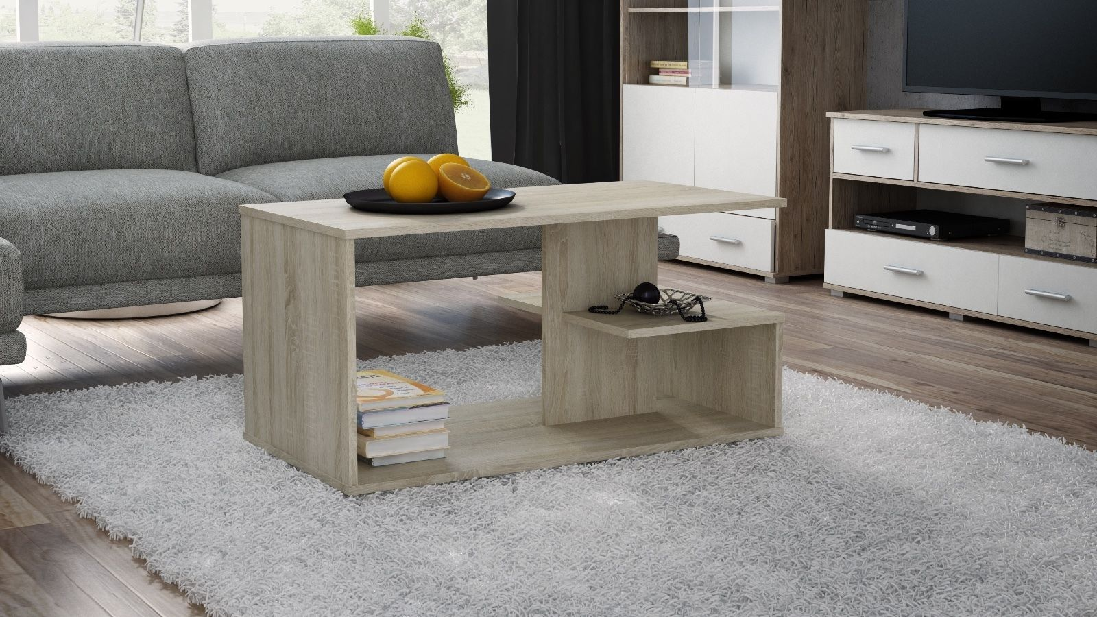 Oak effect coffee table centre piece